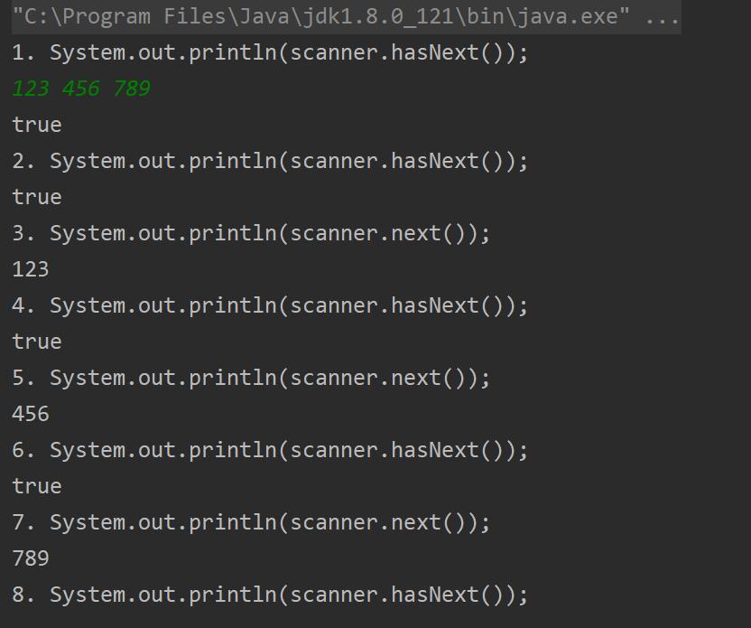 java.util.Scanner中hasNext()方法和next()方法的区别